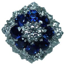 Vintage 18K White Gold Diamond Sapphire Ring Estate 2ct VS-F