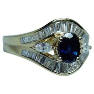 Vintage 18K Gold Sapphire Marquise Baguette Diamond Ring Estate