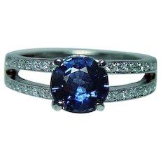 Vintage Sapphire Diamond Platinum Ring Heavy Estate - Red Tag Sale Item