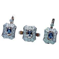 Vintage Russian 14K Rose Gold Diamond Sapphire Earrings Ring Set Estate Soviet Heavy