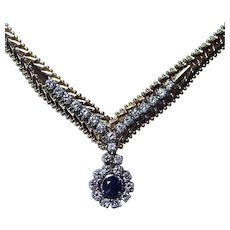 Vintage 14K Gold Diamond Sapphire Necklace Bracelet Set Estate Italy Heavy 61gr Estate