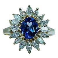 Ceylon Sapphire Marquise Diamond 18K Gold Ballerina Ring Clyde Duneier Estate