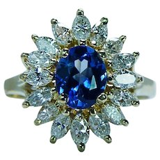 Ceylon Sapphire Marquise Diamond 18K Gold Ballerina Ring Clyde Duneier Estate