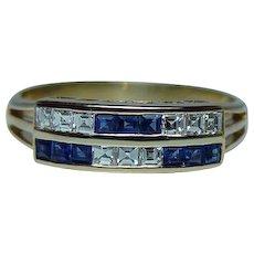 H Stern Asscher Diamond Sapphire 18K Gold Ring Vintage Estate Designer Signed