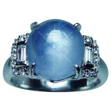 Platinum Gem Quality Star Sapphire Diamond Ring