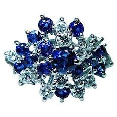 H Stern Diamond Sapphire 18K White Gold Ring Designer