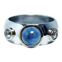 Vintage European Diamond Sapphire Ring Band 14K White Gold Heavy