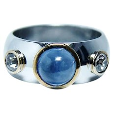 Vintage European Diamond Sapphire Ring Band 14K White Gold Heavy