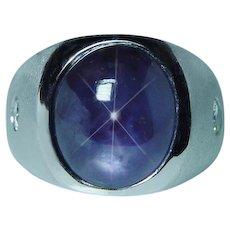 13ct Star Sapphire Diamond Mens Ring 14K White Gold Heavy Gem