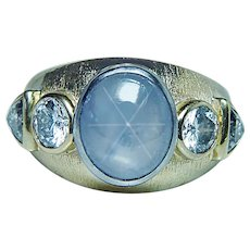 Star Sapphire Trillion Diamond Ring 18K Gold Designer Sparks