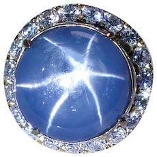Giant 26ct Star Sapphire Diamond Ring 18K Gold Heavy GIA Certified Appraisal