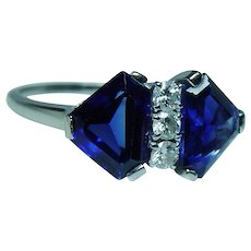 Vintage Platinum 18K Gold Diamond Synthetic Sapphire Ring Estate