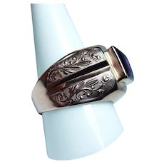 Vintage Russian Synthetic Sapphire Mens Ring 14K Rose Gold Перстень