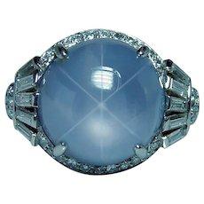 Art Deco Tiffany & Co Platinum 8.5ct Star Sapphire Diamond Ring Designer Estate GIA