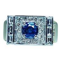 Vintage Ceylon Sapphire 14K White Gold Round Baguette Diamond Ring