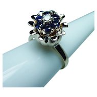 Vintage Sapphire Diamond Tulip Ring 14K Gold Estate