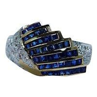 Angel Wings Princess Sapphire Diamond Ring 18K Gold