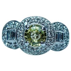 Vintage 18K White Gold Flawless Yellow Sapphire Diamond Halo Ring Estate