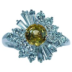 Canary Yellow Sapphire Diamond Platinum Ballerina Ring Estate VVS/EF
