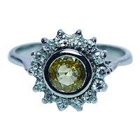 Vintage 14K White Gold Flawless Yellow Sapphire Diamond Halo Ring Estate