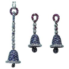 Vintage 18K White Gold Diamond Sapphire Necklace Earrings Designer Set Estate