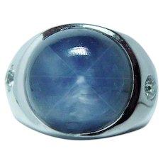 Vintage 20ct Star Sapphire European Diamond Mens Man Ring 14K White Gold Heavy Estate GIA