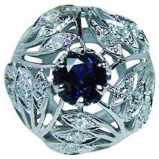 Vintage 14K White Gold Sapphire Diamond Cocktail Ring Large Estate