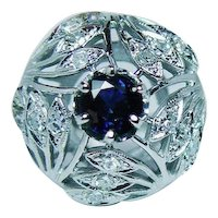 Sapphire Diamond Cocktail  14K White Gold Ring Large