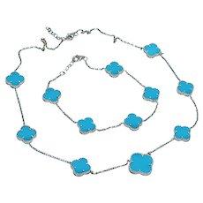 Set Turquoise Clover Station Line Necklace Bracelet 14K Gold Estate Designer