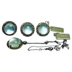 Zoccai 18K Gold Diamond Moonstone Earrings Ring Pendant Set Designer Estate