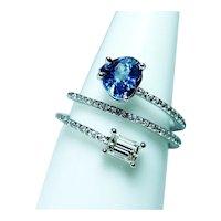 Emerald cut Yellow Diamond Heart Sapphire 14K White Gold Wrap Ring