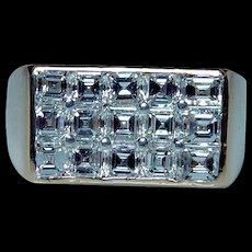 Vintage OSCAR HEYMAN Brothers Asscher Diamond Ring 18K Gold Platinum Estate