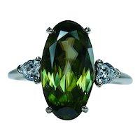 Vintage Rare 5.5ct Sphene Heart Diamond 14K Gold 3 stone Ring Estate
