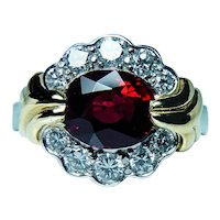 Krementz Platinum 18K Gold Red Spinel Diamond Ring Vintage Designer Appraisal