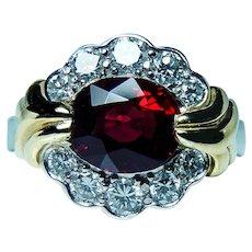 Krementz Platinum 18K Gold Red Spinel Diamond Ring Vintage Designer Appraisal