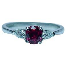 Vintage Natural Burma Spinel Pear Diamond 18K White Gold 3-Stone Ring English