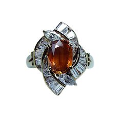 Vintage 2ct Yellow Orange Cushion Sapphire Marquise Diamond Ring 18K Gold