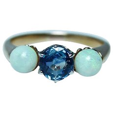 Vintage 14K Gold Cornflower Sapphire Opal 3 stone Ring  Estate