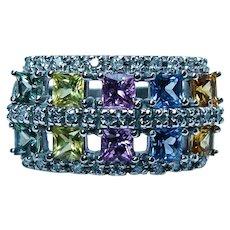 Vintage Fancy Sapphire Diamond Ring 14K White Gold Estate Designer CID