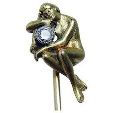 French Art Nouveau Diamond Nude Lady Stick Pin 18K Gold