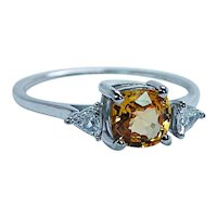 Vintage Cushion Canary Yellow Sapphire Diamond 14K White Gold Ring Dainty
