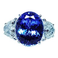 Fine Tanzanite Half Moon Diamond 3 stone 18K White Gold Ring GIA 7ct
