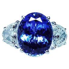 Fine Tanzanite Half Moon Diamond 3 stone 18K White Gold Ring GIA 7ct