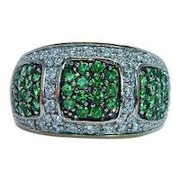 Levian Tsavorite Garnet Diamond Ring 14K Gold Designer