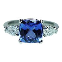 Cushion Tanzanite Pear Diamond 3 stone Platinum Ring