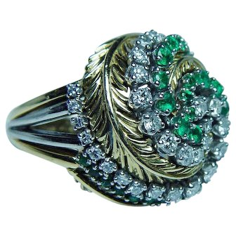 Vintage Tiffany & Co Emerald Diamond Ring 18K Gold Estate Heavy