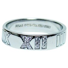 Tiffany & Co. Atlas Diamond Ring Band 18K White Gold Rare and Retired
