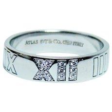 Tiffany & Co. Atlas Diamond Ring Band 18K White Gold