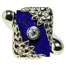 Art Nouveau Tiffany & Co Lapis European Diamond Giant Ring 18K Gold Heavy