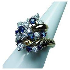 TIFFANY & Co. Sapphire Diamond Ring 18K Gold Giant